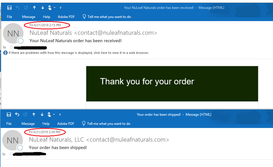 NuLeaf Naturals CBD Oil confirmation email