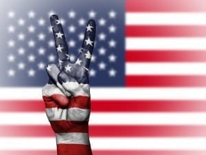 US Flag Peace Hands