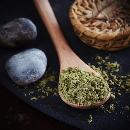 kratom ban and kratom powder in a spoon