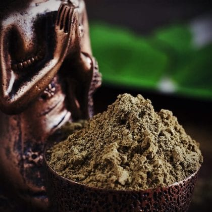 kratom powder in a bowl with a statue on and kratom ban article
